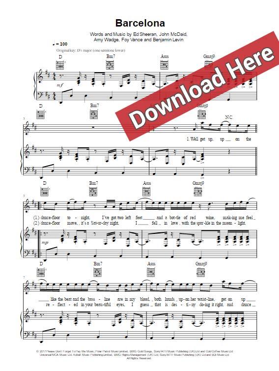 ed sheeran, barcelona, sheet music, piano notes, chords, download, pdf, klaiver noten, keyboard, guitar, voice, vocals
